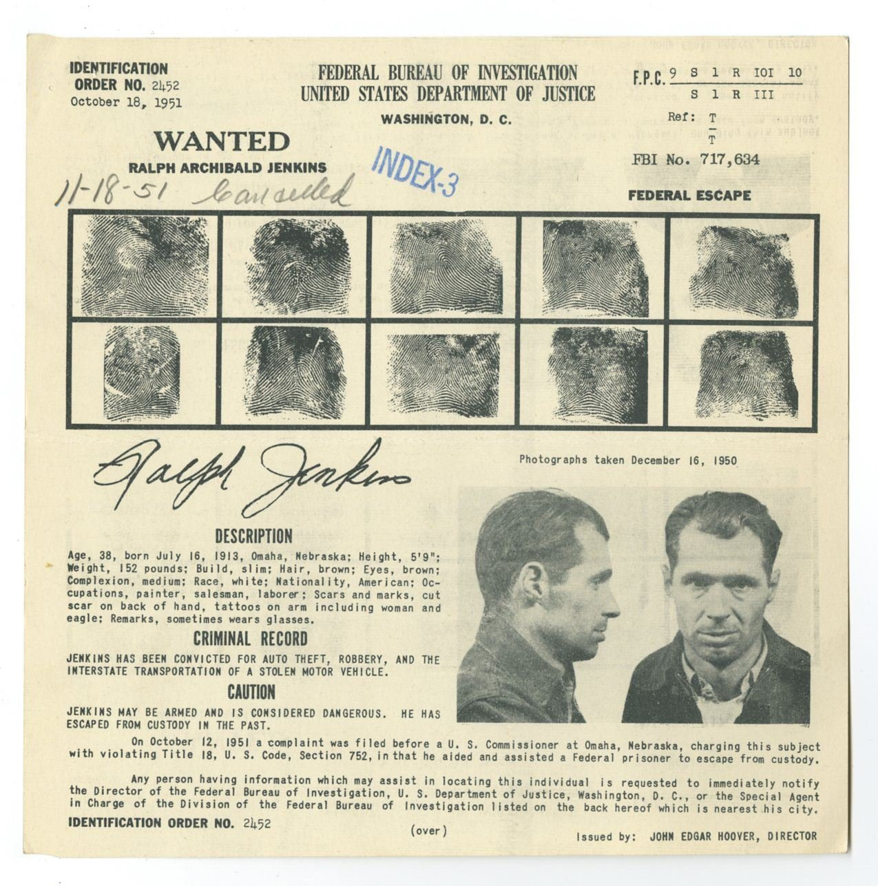 Amazon com: Wanted Notice - Ralph Archibald Jenkins/Federal Escape