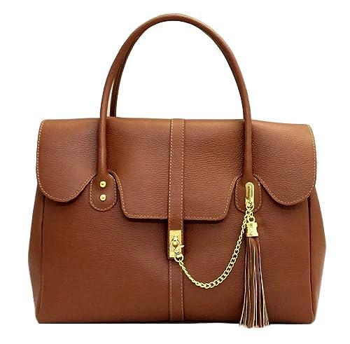 d6fd1060795b7 BORSA vera pelle donna made in italy a mano spalla con catena art MATILDE  colore cuoio  Amazon.it  Scarpe e borse