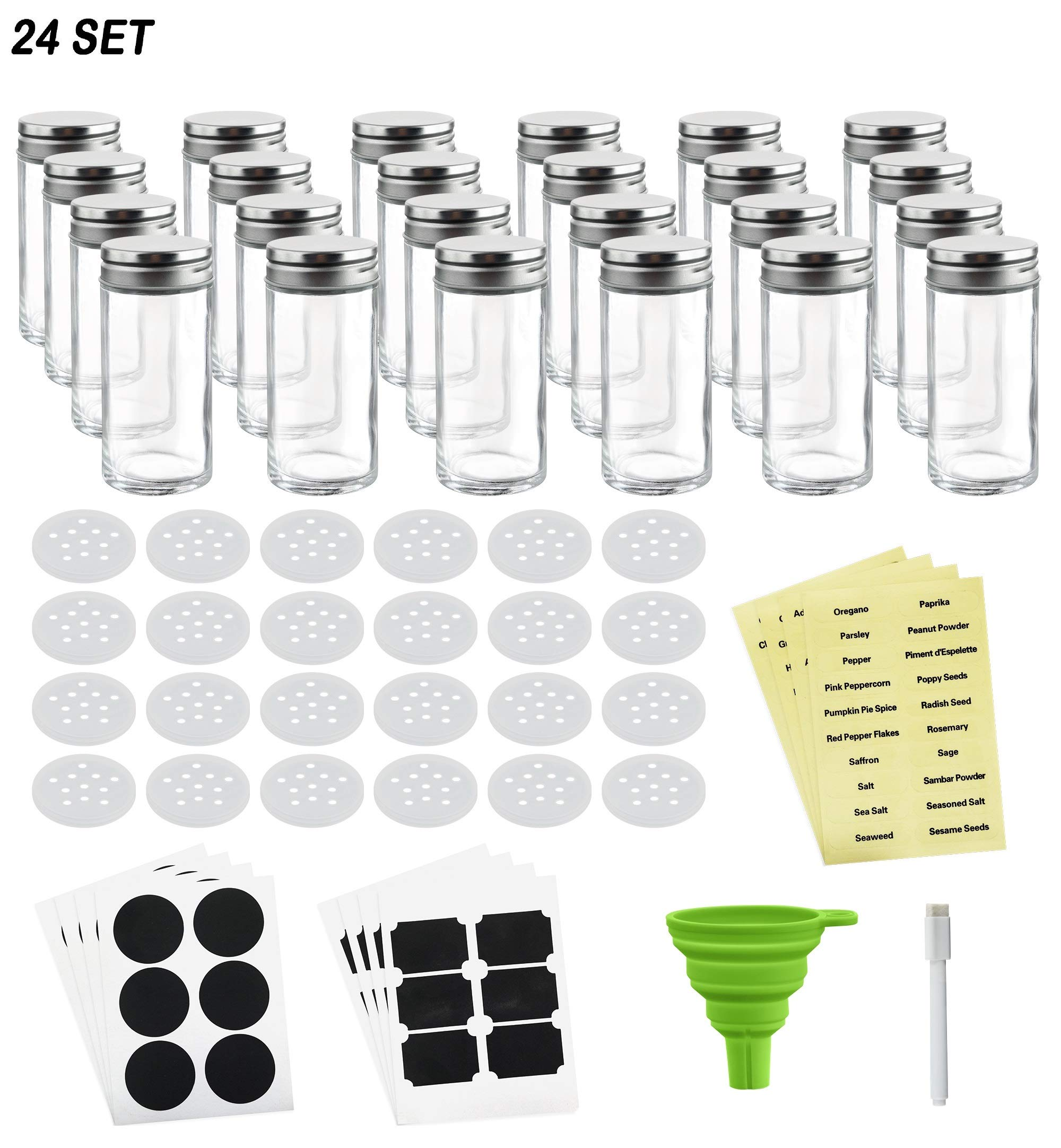 Nellam French Round Glass Spice Jars – Set of 24 with Shaker Lids and Chalkboard Sticker Labels, Small 4oz Bottles - Stackable Herbs and Spices Containers - Decorative Organizers in Silver
