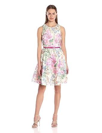 ddee4b52 Gabby Skye Women's Sleeveless Scoop Neck Scuba Fit & Flare Dress,  Ivory/Pink/