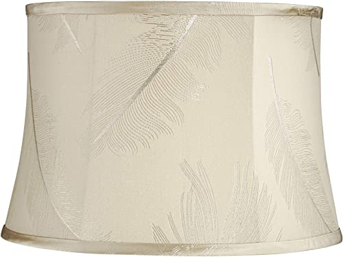 Cream Embroidered Feather Drum Lamp Shade 14x16x11 Spider – Springcrest