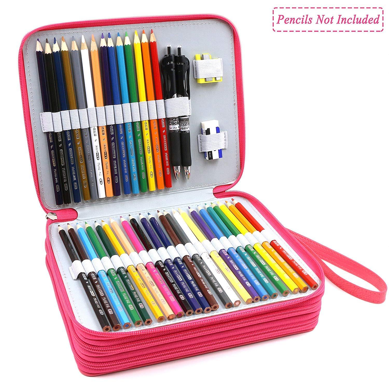 Rouge Rose TOOGOO /¨/¦tui /¨/¤ Crayons 120 Fentes Grand Sac De Stylo /¨/¤ Zip Multi-Couches Portable en Cuir Pu avec Poign/¨/¦e De Sangle pour Crayons /¨/¤ Aquarelle Crayons De Couleur,Stylos Marco