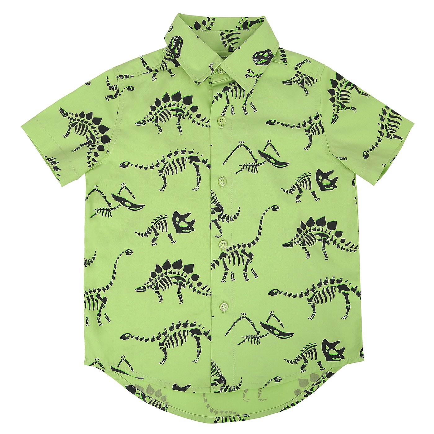 HDE Boys Short Sleeve Button Down Cotton Shirt Cute Pattern Prints - Size 2T-7/8 (Dinosaur, 7/8)