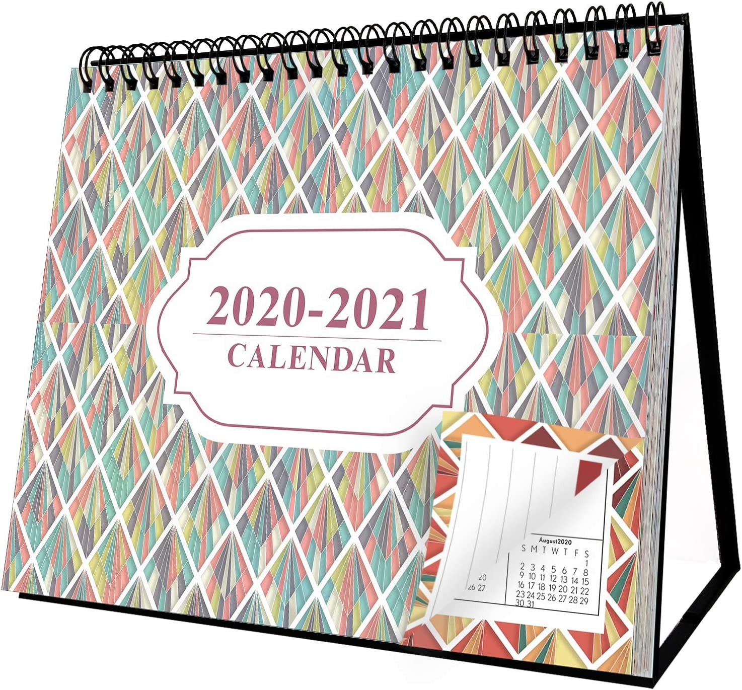 "Desk Flip Calendar 2020-2021 with Stand 8"" x 6"" 18 Month"