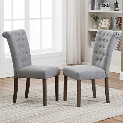 Exceptionnel Merax Set Of 2 Fabric Dining Chairs With Solid Wood Legs, Gray