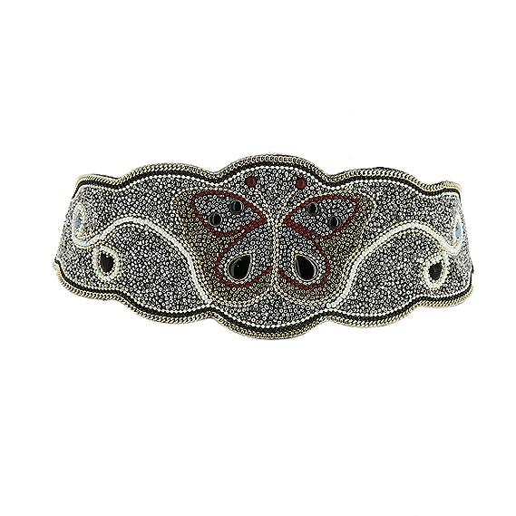 FASHIONGEN - Ceinture élastique large à mosaique de perles fait à la main  Papillon, LANA b4e5e858187