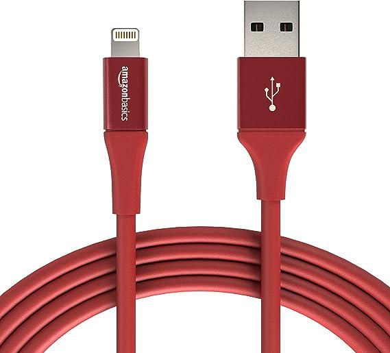 de nailon trenzado 0,9 m Cable USB tipo A con conector Lightning doble Rojo colecci/ón pr/émium Basics Paquete de 2