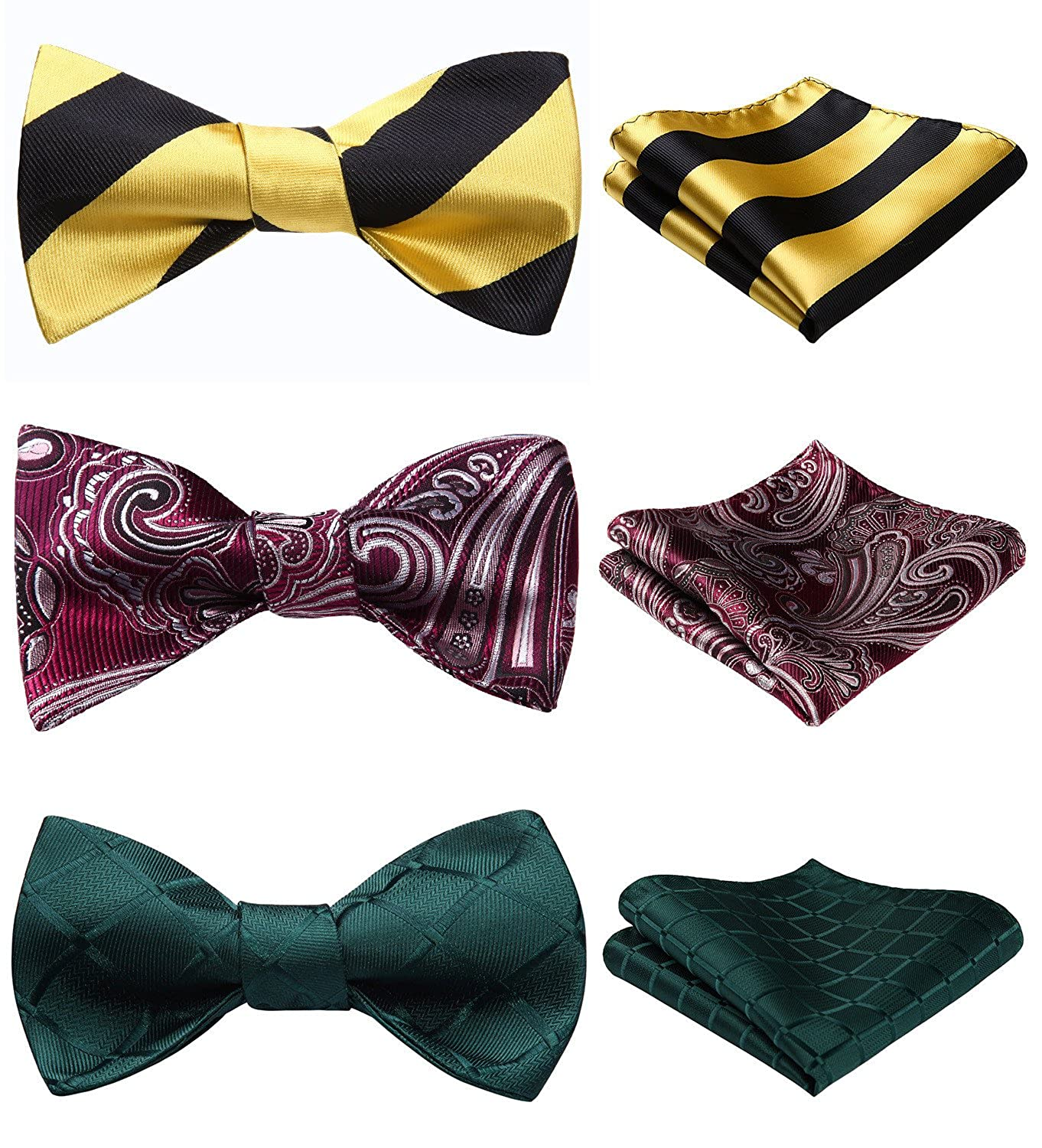 Enmain 3 Packs Classic Mens Adjustable Multiple Self Tie Bow tie /& Pocket Square Sets Good Gift for Men