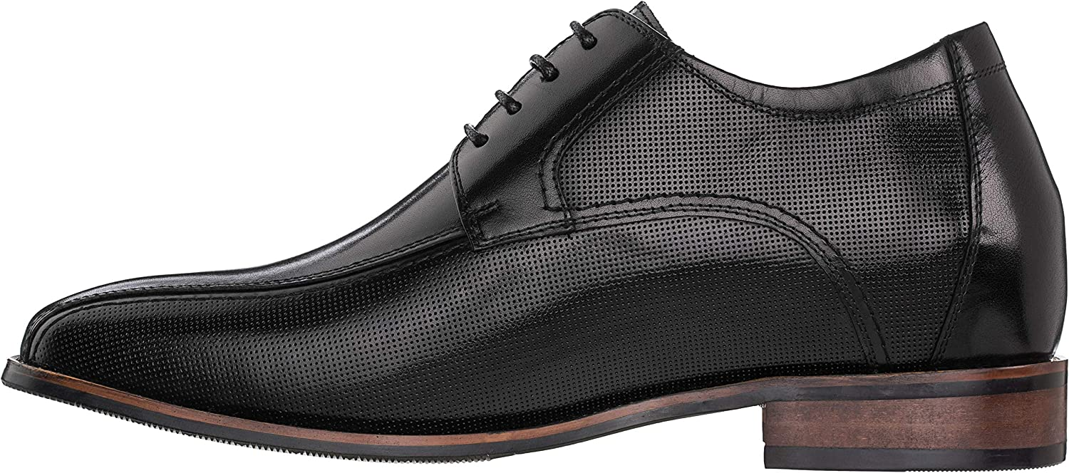 Black Premium Leather Lace-up Formal Oxfords 3 Inches Taller Y10653 CALTO Mens Invisible Height Increasing Elevator Shoes