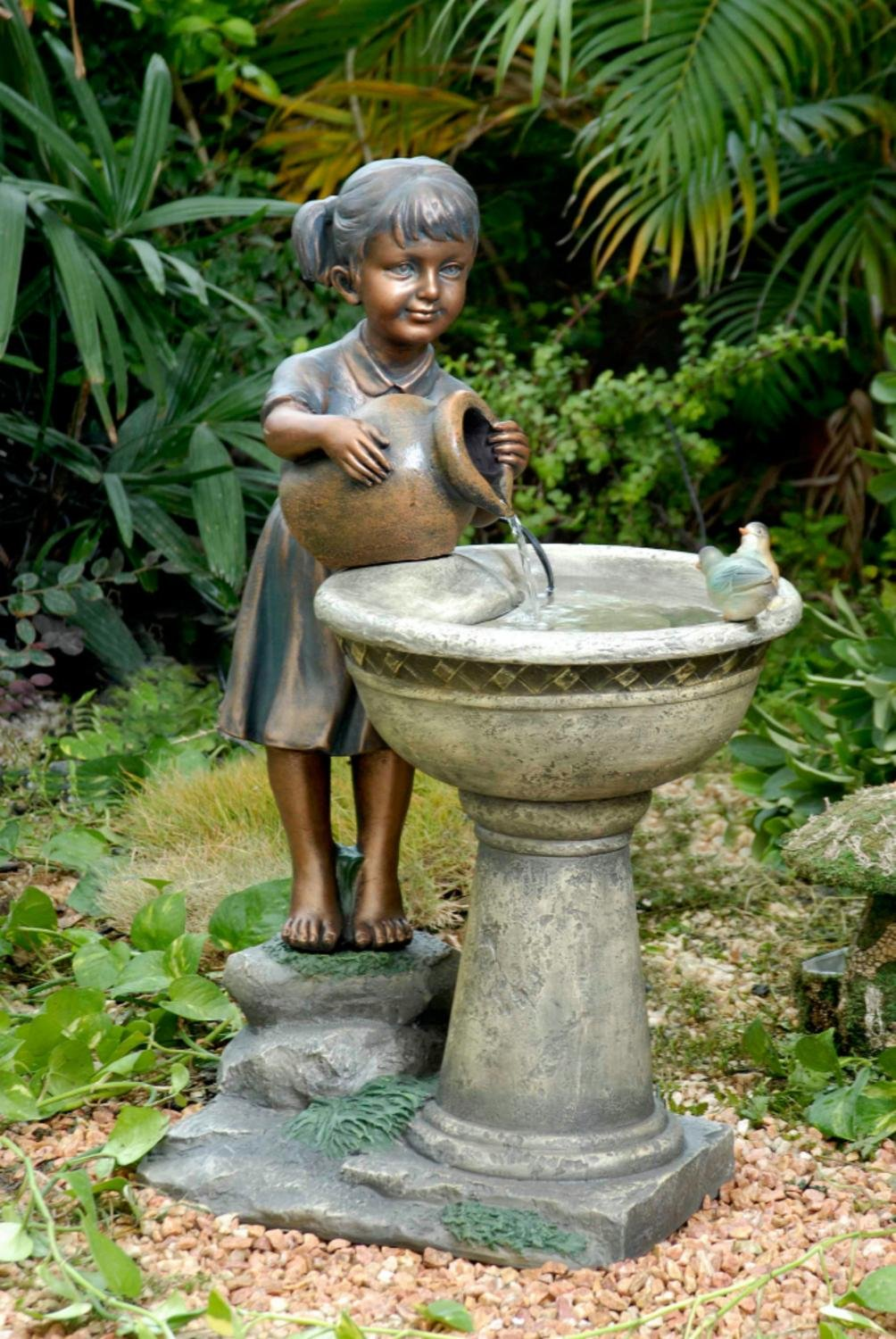 """29"""" Young Girl and Feathered Friends Outdoor Patio Garden Bird Bath Water Fountain"""
