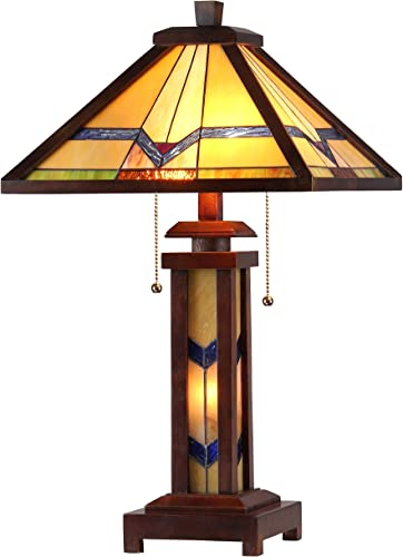 Chloe Lighting CH33430WM15-DT3 Tiffany Alexander -Style Mission 3-Light Double Lit Wooden Table Lamp, 15 x 15 x 25.6