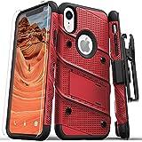 Zizo Bolt 系列兼容 iPhone XR 手机壳*级跌落测试钢化玻璃屏幕保护膜皮套支架 红色/黑色