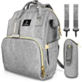 Baby Changing Bag, HowiseAcc Nappy Diaper Backpack with USB Charging Port, Come with Baby Bottle Bag & 2 Stroller Strip for Mum Dad, Stylish, Large Capacity, Waterproof and Durable
