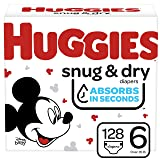 Huggies Snug & Dry Baby Diapers, Size 6, 128 Ct, One Month Supply