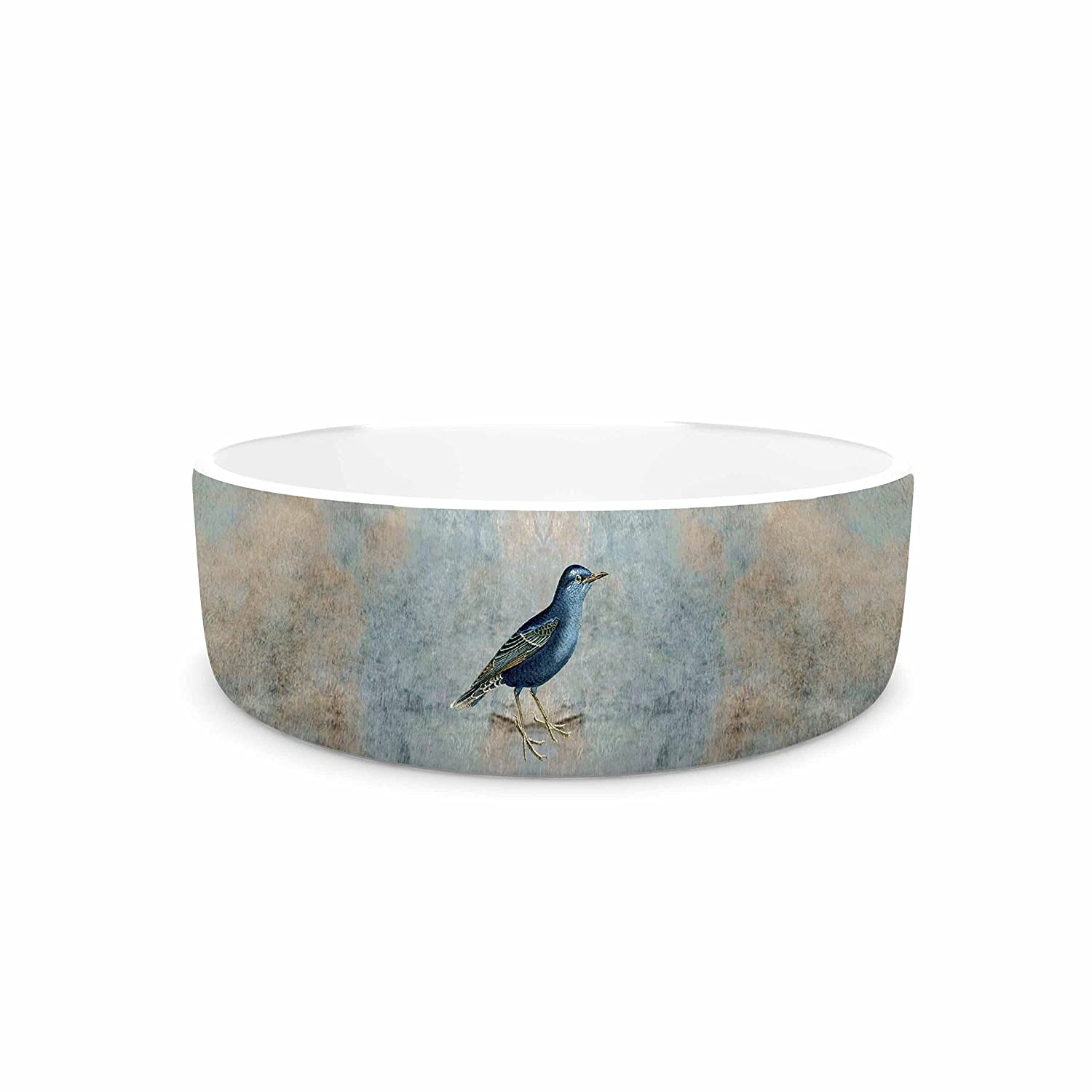 KESS InHouse Pia Schneider Heavenly Bird  bluee Animals Pet Bowl, 7