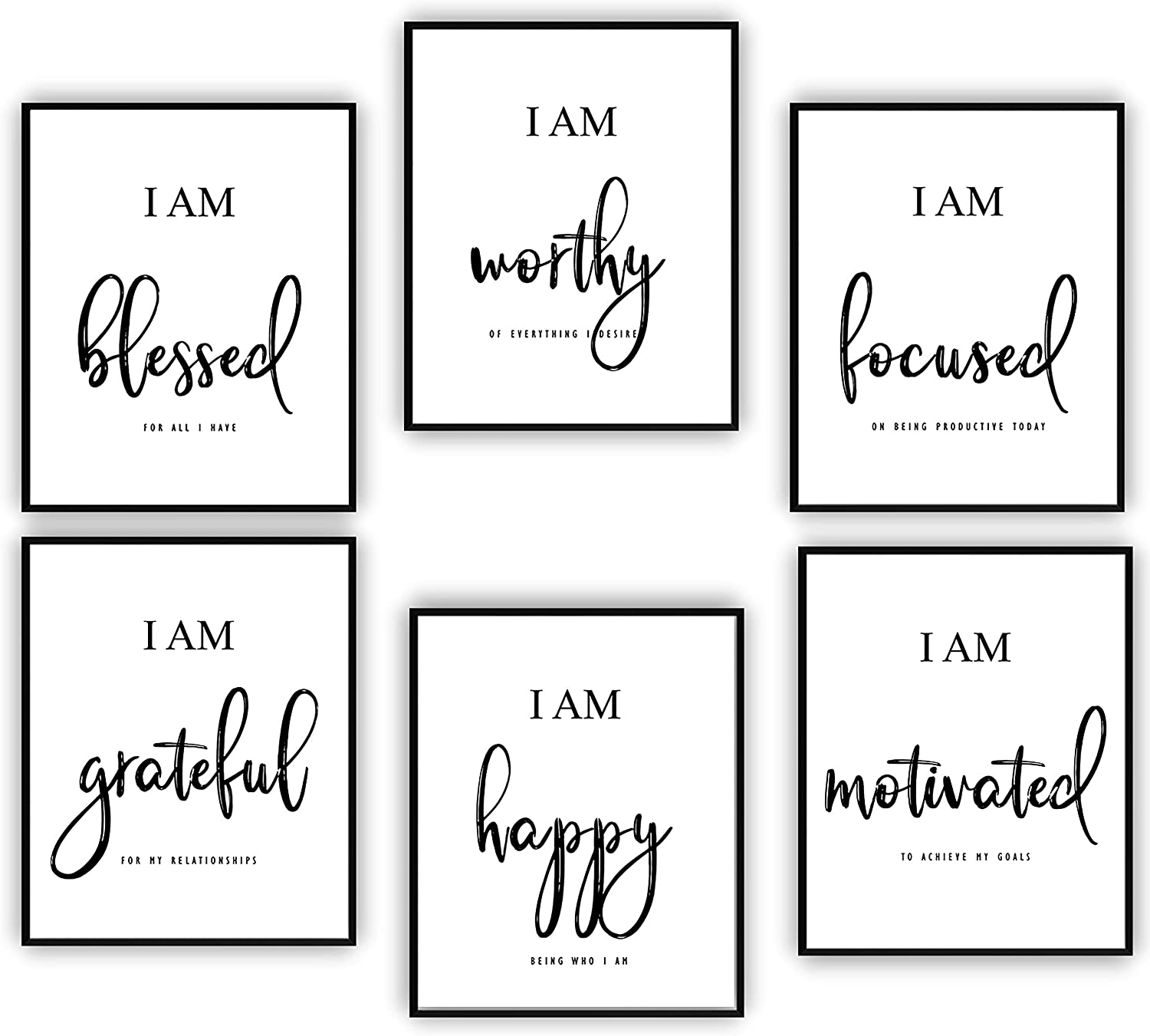 Inspirational Wall Art - Motivational Wall Art - Office & Bedroom Wall Decor - Positive Quotes & Sayings - Daily Affirmations for Men, Women & Kids - Black & White Poster Prints (8X10, Set of 6, No Frame)