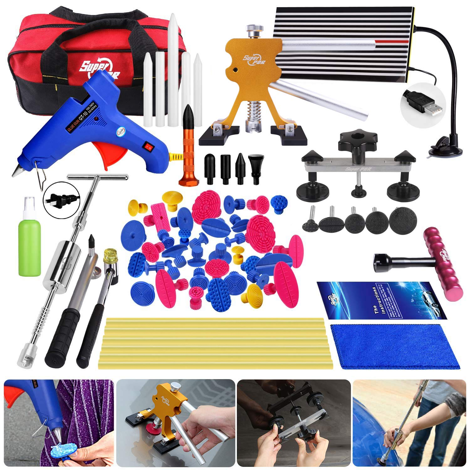 Super PDR 68pcs Auto Body Paintless Dent Removal Repair Tools Kits Dent Lifter Slide Hammer Pro Tabs Tap Down LED Reflector Board with Tool Bag