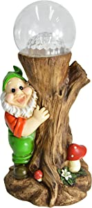 HOMESHINE Gnome Garden Statues and Sculptures with Solar Lights Outdoor Decorations 12 Inch