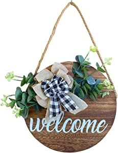 Redden Row Farmhouse Welcome Sign | Rustic Door Decorations | Welcome Sign Classroom | Fall Porch Sign | Wooden Door Decor | Round Wood Hanging | Classroom Door Sign | Fall Door Hanger