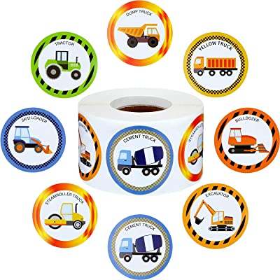 Outus 600 Pieces Truck Stickers Construction Car Sticker 1.5 Inch Truck Car Shape Wall Decals for Birthday Truck Themed Party Supplies: Kitchen & Dining
