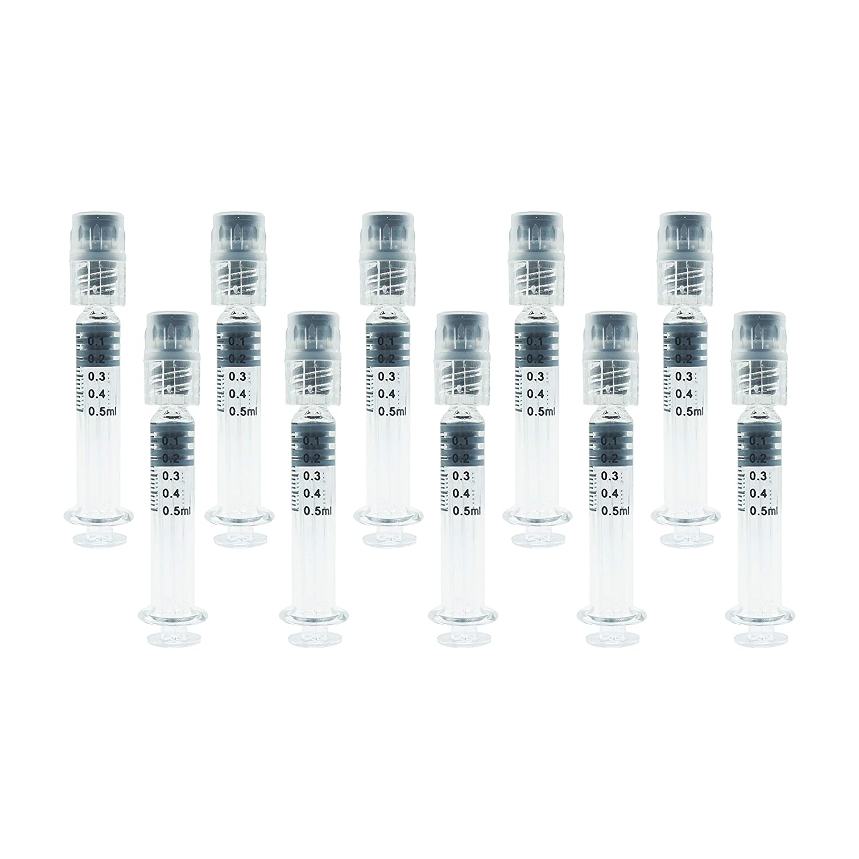 Bitomic Reusable Borosilicate Glass Luer Lock Syringe - Hemp, CBD Oils,  EJuices, Liquids, Glue, Veterinary, and Lab Syringes - 0 5ml Capacity - 10