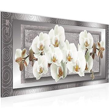 Bilder Blumen Orchidee Wandbild 100 x 40 cm Vlies - Leinwand Bild XXL  Format Wandbilder Wohnzimmer Wohnung Deko Kunstdrucke Weiß 1 Teilig - Made  IN ...