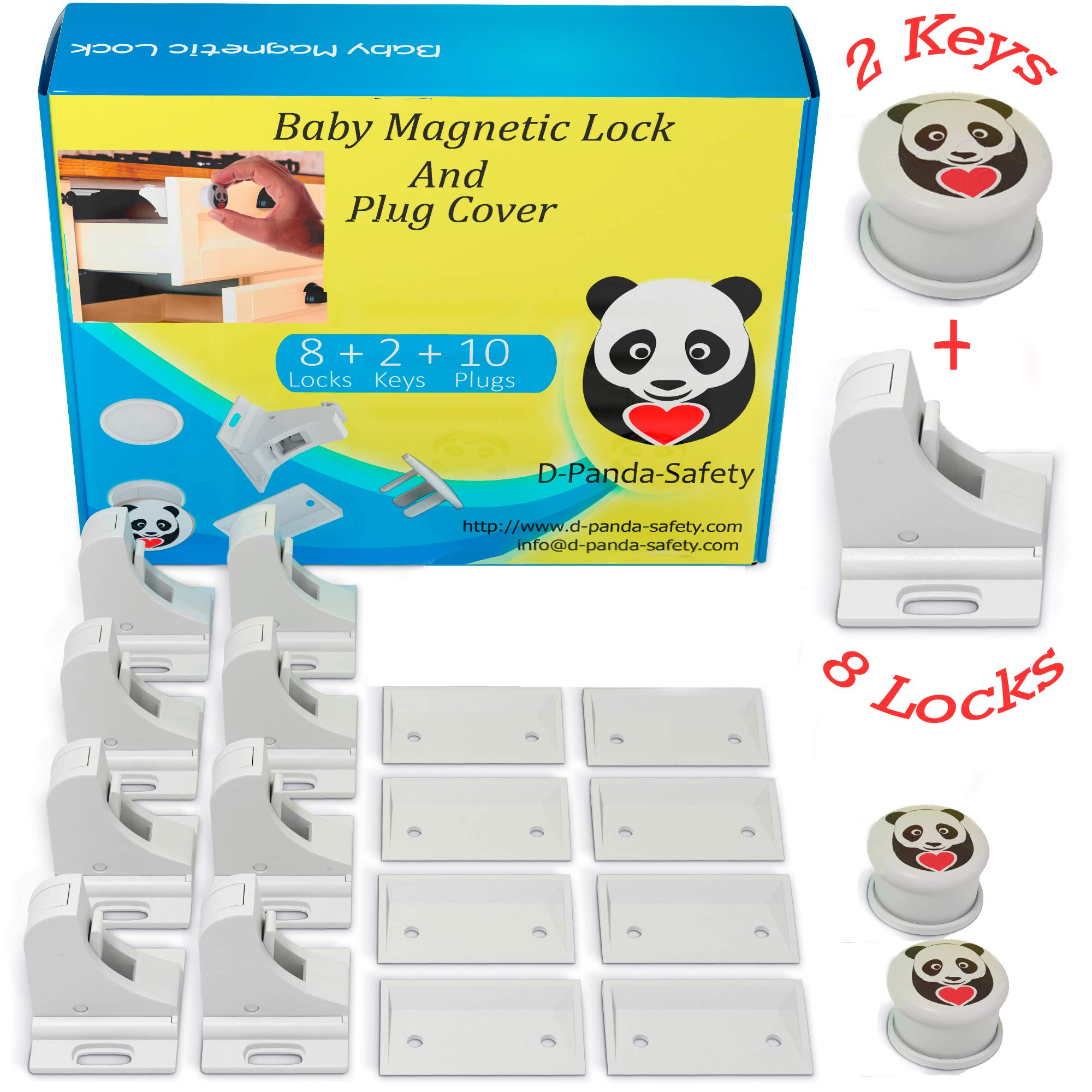 Child Safety Magnetic Cabinet Locks - Invisible Baby Proof Latch Set 8 Locks & 2 Keys Heavy Duty Locking System for Proofing Cabinets Drawers Doors Kitchen with 3M Adhesive (Tools aren't Required) by D-Panda-Safety (Image #9)