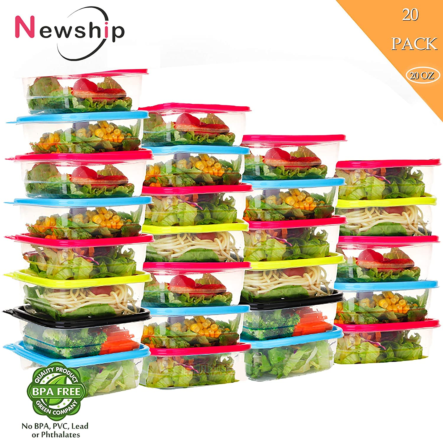 Freezer Storage Containers [20 Pack, 20oz]-Square Disposable Plastic Food Storage Containers with Lids,Stackable,Leakproof,Microwave,Dishwasher,Freezer Safe