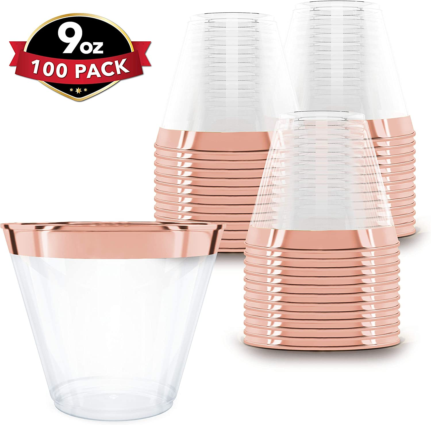 100 Rose Gold Plastic Cups | 9 oz | Hard Disposable Cups | Plastic Wine Cups | Plastic Cocktail Glasses | Plastic Drinking Cups | Bulk Party Cups | Wedding Tumblers | Clear Plastic Cups