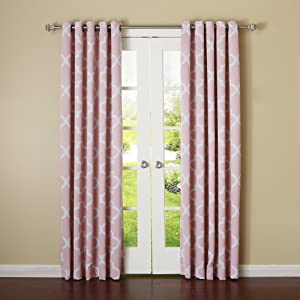 """Best Home Fashion Closeout Room Darkening Blackout Moroccan Print Curtains – Antique Bronze Grommet Top – Pink – 52""""W x 108""""L – (Set of 2 Panels)"""
