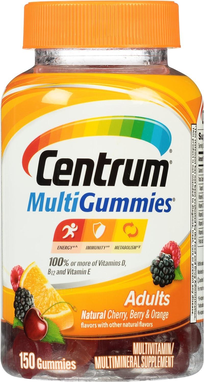 Centrum MultiGummies Adults 150 Count, Natural Cherry, Berry, Orange Flavor Multivitamin Multimineral Supplement Gummies