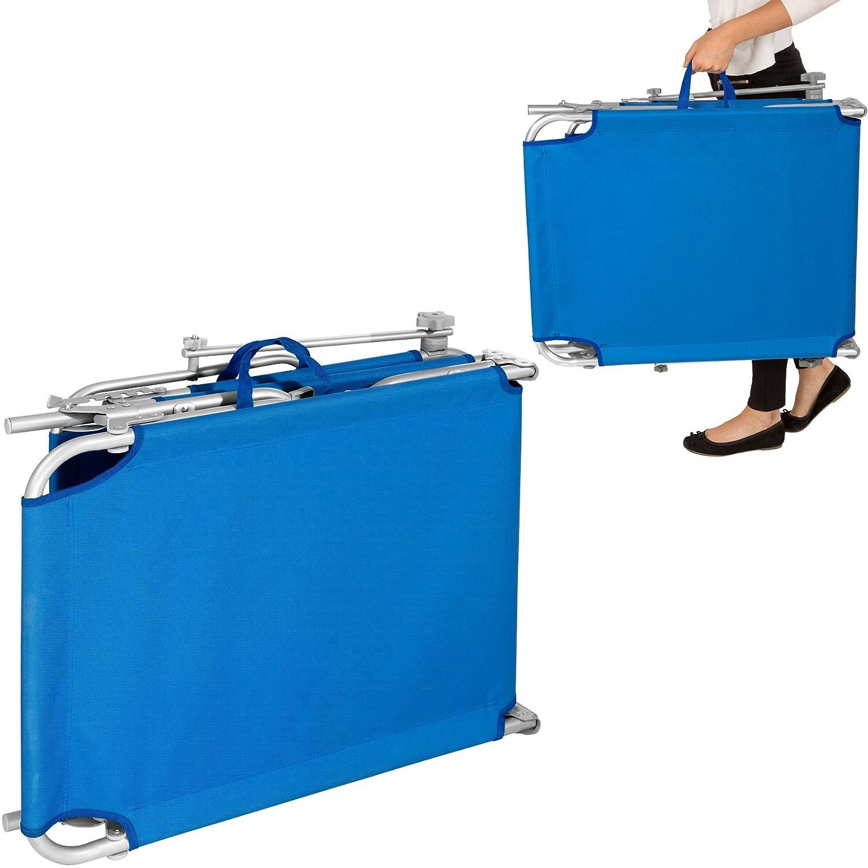 TecTake Aluminium Gartenliege Gartenliege Gartenliege klappbar mit Sonnendach 190cm - Diverse Farben - (Blau   Nr. 401429) bed49e