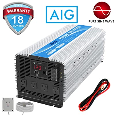 GIANDEL 4000W Heavy Duty Pure Sine Wave Power Inverter DC12V to AC120V with 4 AC Outlets with Remote Control 2.4A USB and LED Display: Automotive