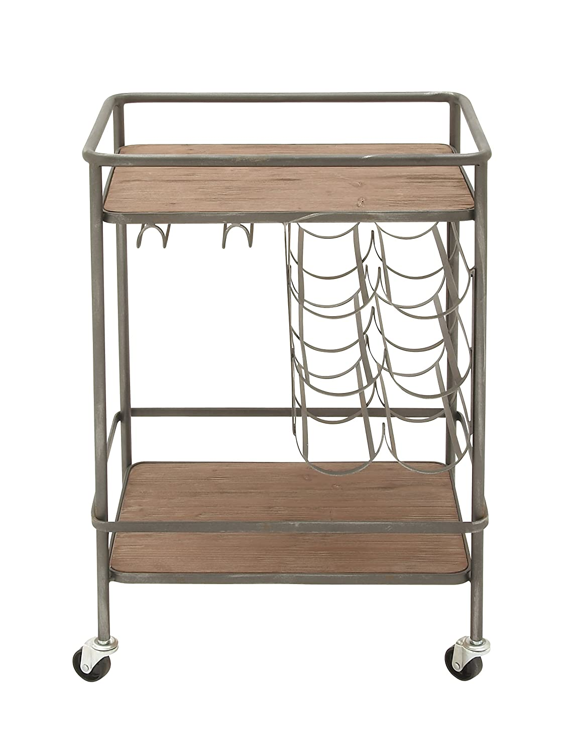 Deco 79 48673 Metal Wood Winerack bar cart, 20 W x 30 H