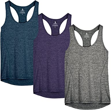 icyzone Camiseta de Fitness Deportiva de Tirantes para Mujer, Pack de 3: Amazon.es: Ropa y accesorios