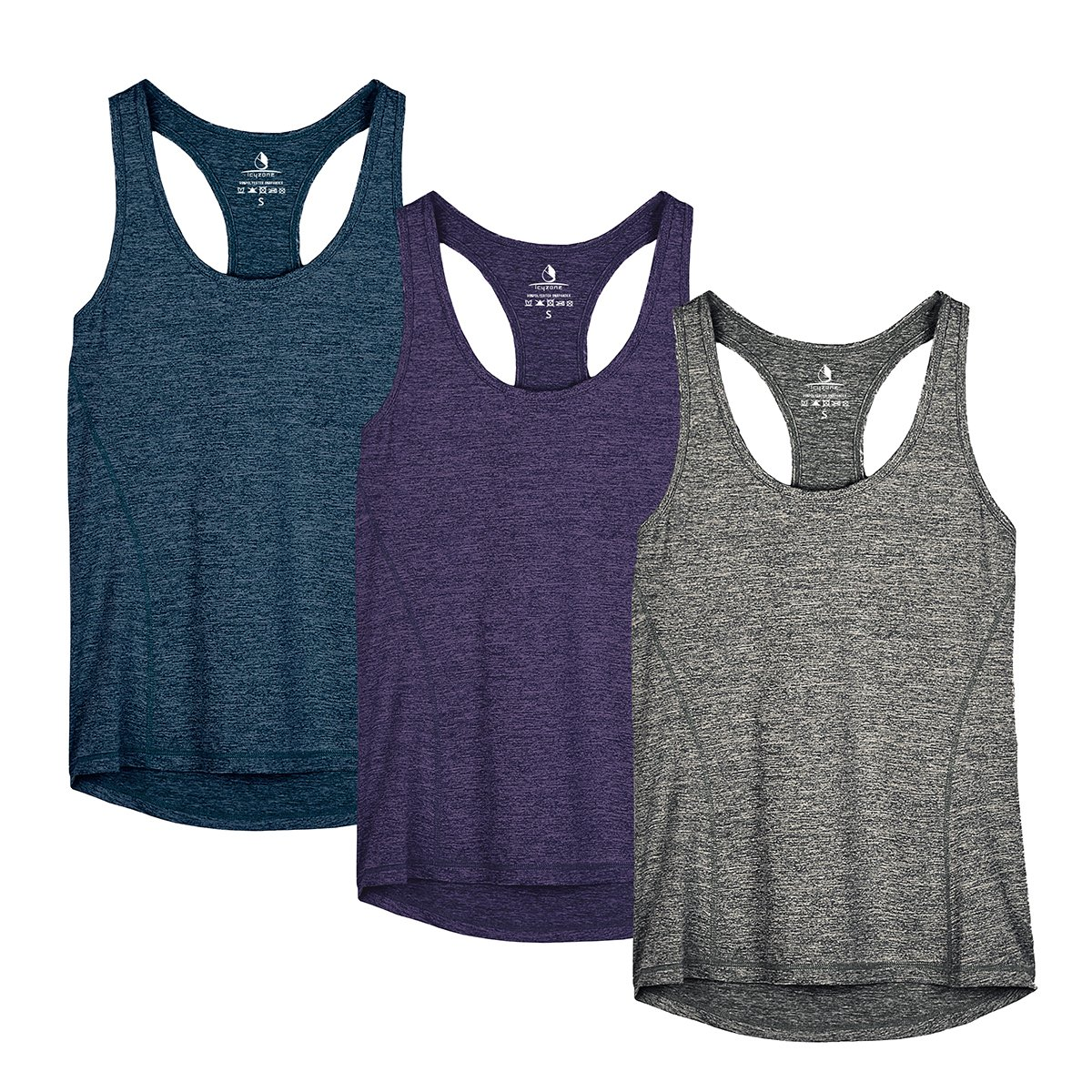 icyzone Workout Tank Tops for Women - Racerback Athletic Yoga Tops, Running Exercise Gym Shirts(Pack of 3)(XS, Royal Blue/Purple/Charcoal) by icyzone
