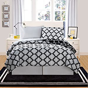 VCNY Home Galaxy Reversible 8-Piece Bed-in-a-Bag Comforter Set, Queen, Black/White