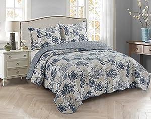 Brilliant Sunshine Flower, Garden, and Manor Toile Patchwork, 3-Piece Quilt Set, Reversible Bedspread, Lightweight Coverlet, All-Season, Full/Queen, Blue Beige
