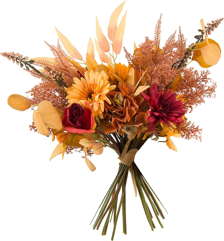 cn-Knight Artificial Fall Flower Bouquet 2pcs 17 Inch Fall Wedding Bouquet for Wedding Bridal DIY Bouquet Home Décor Centerpieces(Orange Color Scheme)