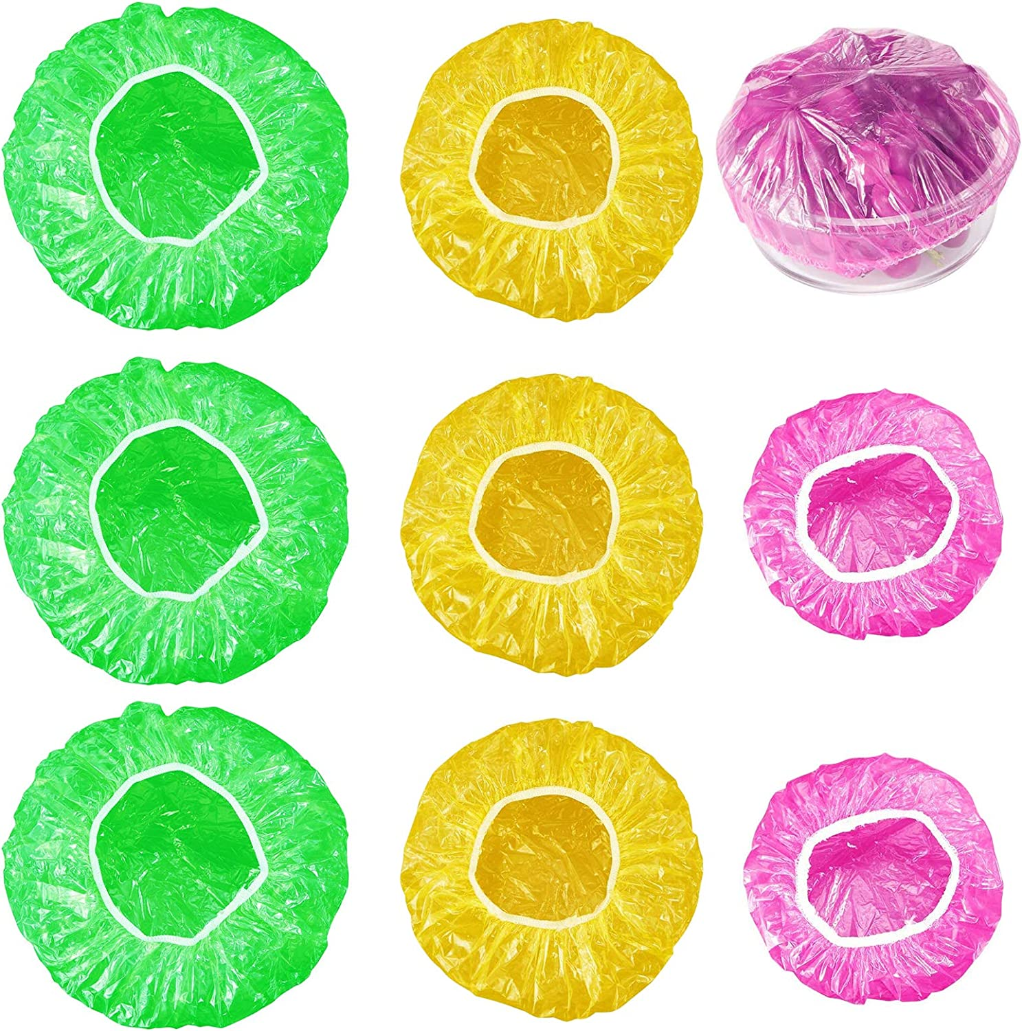 120 Pieces Reusable Food Storage Covers, Dish Plate Plastic Covers for Family Outdoor Picnic, Elastic Colorful Bowl Dish Plate Plastic Covers