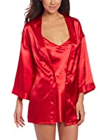 Dreamgirl Women's Plus-Size Shalimar Charmeuse Chemise with Robe and Padded Hanger