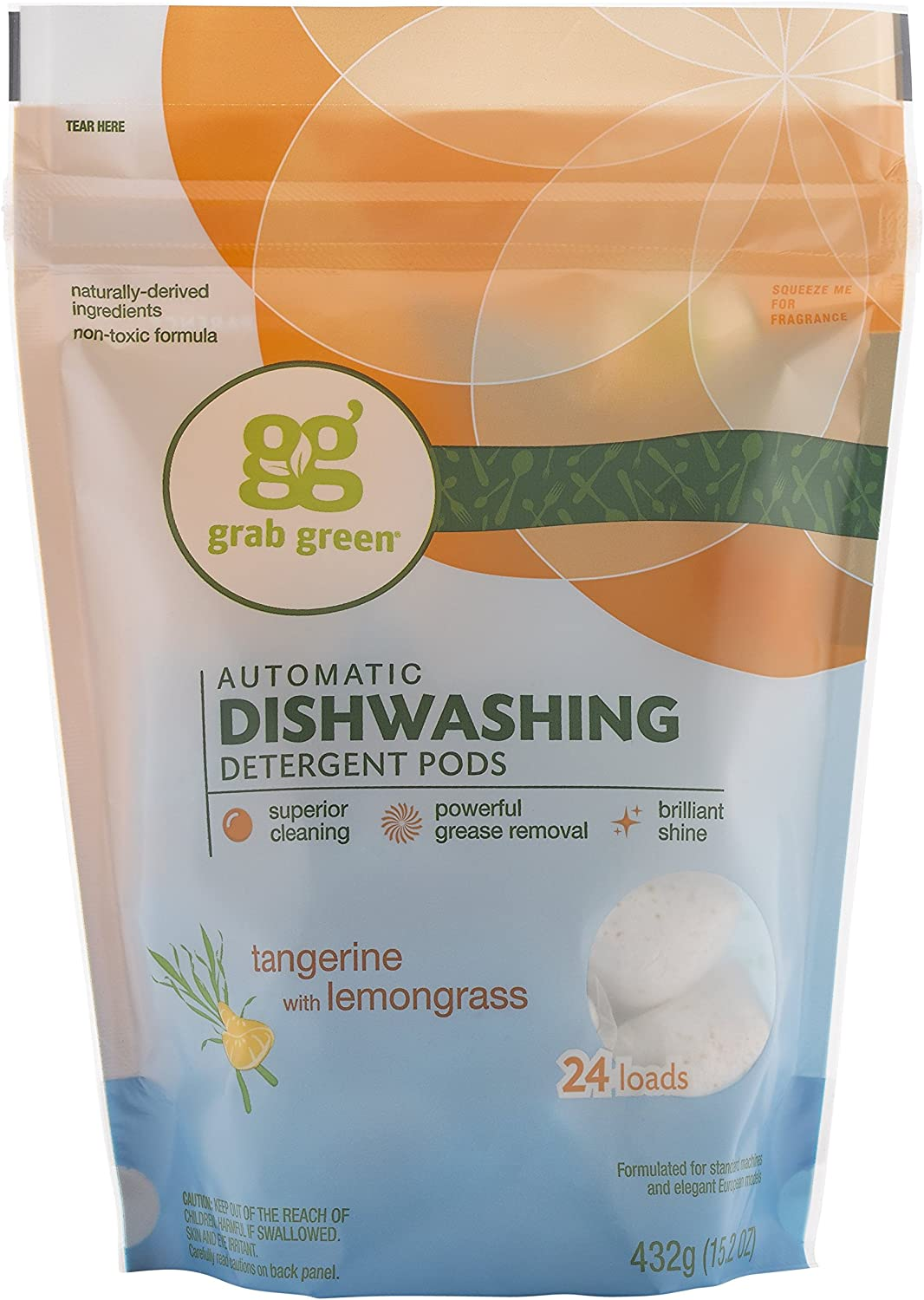 Grab Green Natural Dishwasher Detergent Pods, Organic Enzyme-Powered, Plant & Mineral-Based, Tangerine + Lemongrass—With Essential Oils, 24 Count