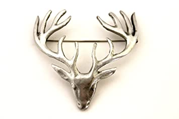 Large Polished Pewter Scottish Stag Head Plaid Sash Brooch - Made in Scotland ZtAHQ3oc