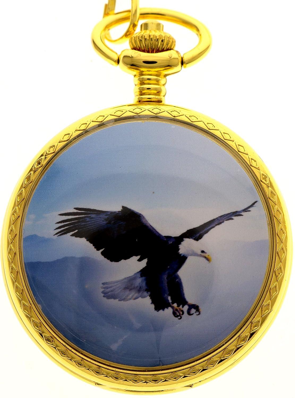 新しいブランドモールメンズゴールデンイーグルデザインポケットQuartz Watch + Giftチェーン B01FFAOPHI