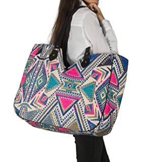 TribeAzure Large Women Shoulder Bag Tote Aztec Handbag Tassel School Everyday Beach Picnic Grocery Laptop