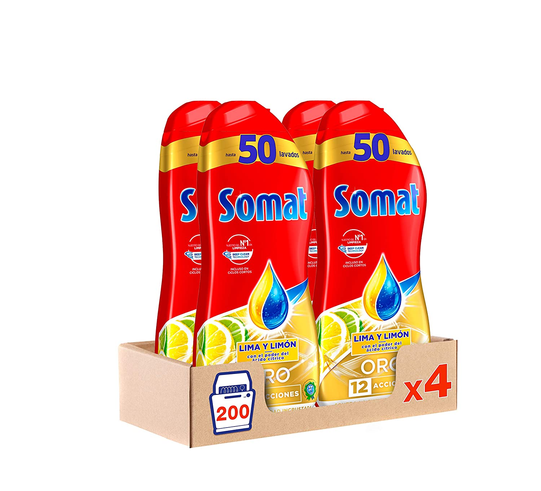 Somat Oro Gel Lavavajillas Limón - Pack de 4, Total: 200 lavados ...