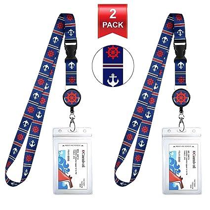 Blue & Red Anchor Helm Cruise Lanyard & Waterproof ID Key Titular de la tarjeta Clip. Carrete de placa retráctil a juego. Bolsa de viaje organizadora. ...