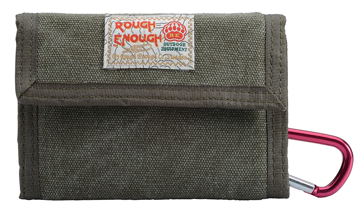RE ROUGH ENOUGH Rough Enough Classic Stylish Vintage Fancy Heavy Canvas Wallet For Coins Purse Holder Organizer Case With Zippered Pockets Trifold Coin Pocket ROUGH ENOUGH INC. RE8002-ARMY GREEN