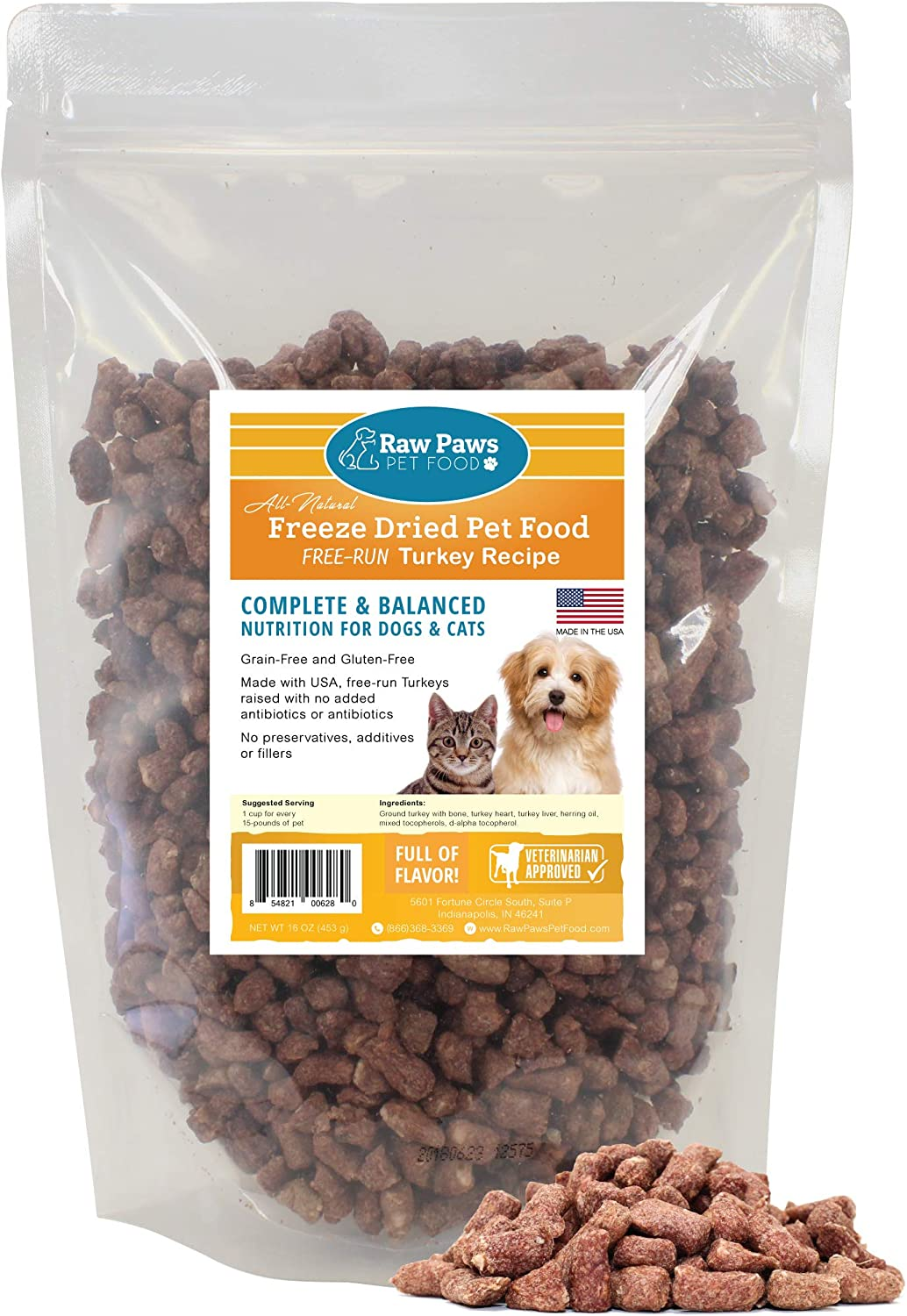 Raw Paws Premium Raw Freeze Dried Dog Food Cat Food, 16 oz – Antibiotic-Free – Made in USA Only – Grain, Gluten and Wheat Free – All Natural Pet Food