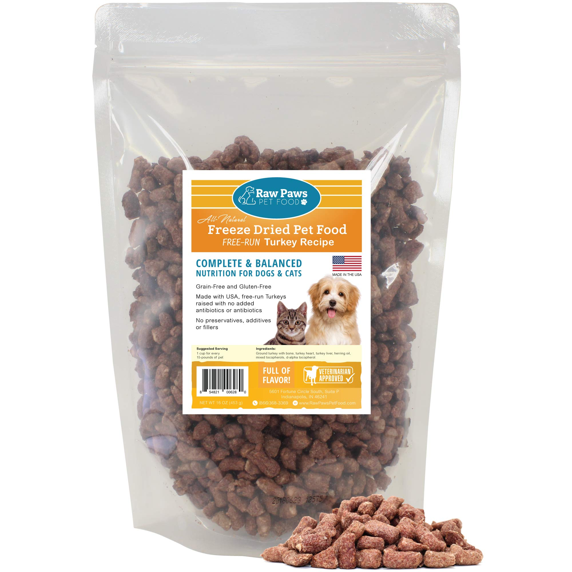 Raw Paws Pet Premium Raw Freeze Dried Turkey Dog Food & Cat Food, 16 Ounce - Antibiotic-Free Turkey - Made in USA Only - Grain, Gluten and Wheat Free Pet Food by Raw Paws
